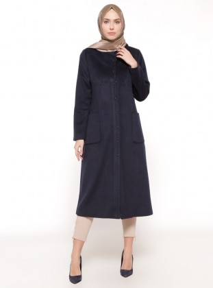 Navy Blue - Fully Lined - Button Collar - Coat - Esswaap 316808