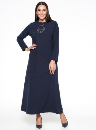 Navy Blue - Fully Lined - Crew neck - Plus Size Dress - Esswaap 316794