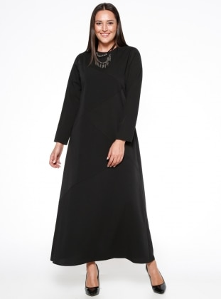 Black - Fully Lined - Crew neck - Plus Size Dress - Esswaap 316793