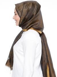 Brown - Gold - Striped - Shawl