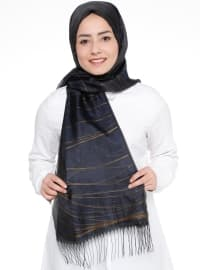 Navy Blue - Brown - Striped - Shawl