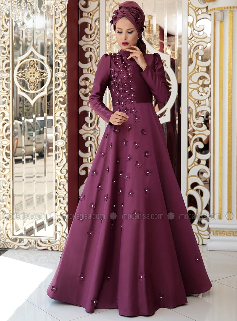 Crew neck - Fully Lined - Floral - Purple - Muslim Evening Dress