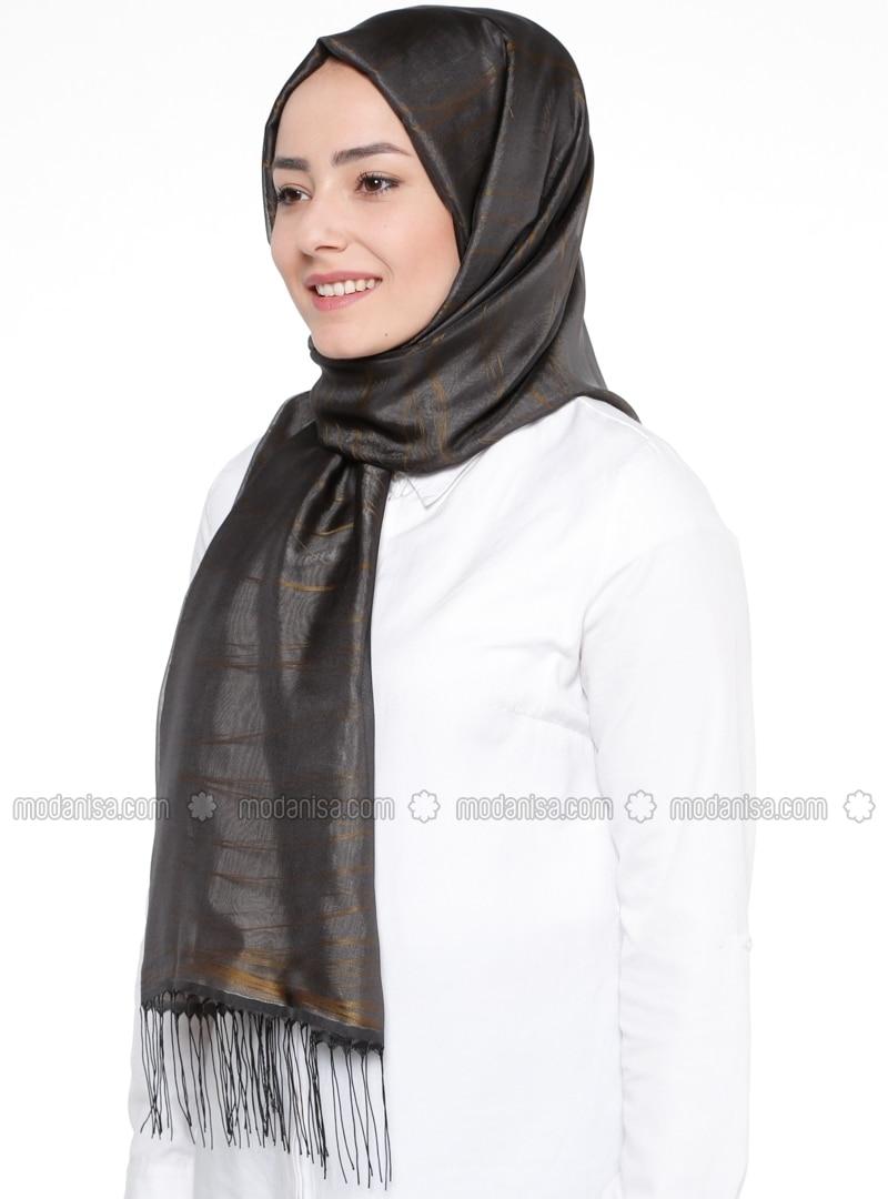 Gray - Gold - Striped - Shawl