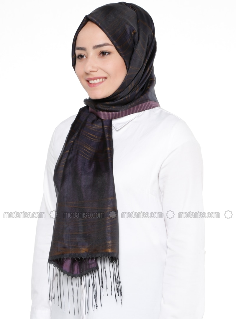 Black - Purple - Striped - Shawl
