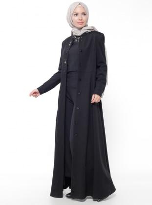 Gizli Düğmeli Keçe Manto - Siyah Nihan