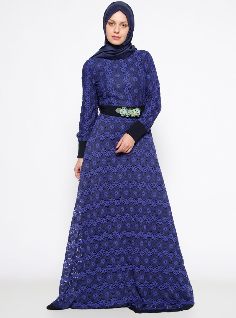 1bf2a0cdce416 Mislina Saks Güpürlü Abiye Elbise | ElbiseBul