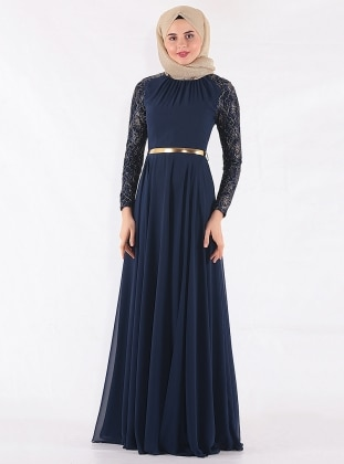 Navy Blue - Crew neck - Fully Lined - Muslim Evening Dress - Mileny 317775