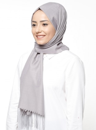 Gray - Silver tone - Plain - Shawl
