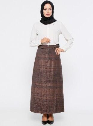 Pileli Etek - Kahverengi Tuğba