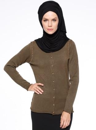 Khaki - V neck Collar - Cardigan