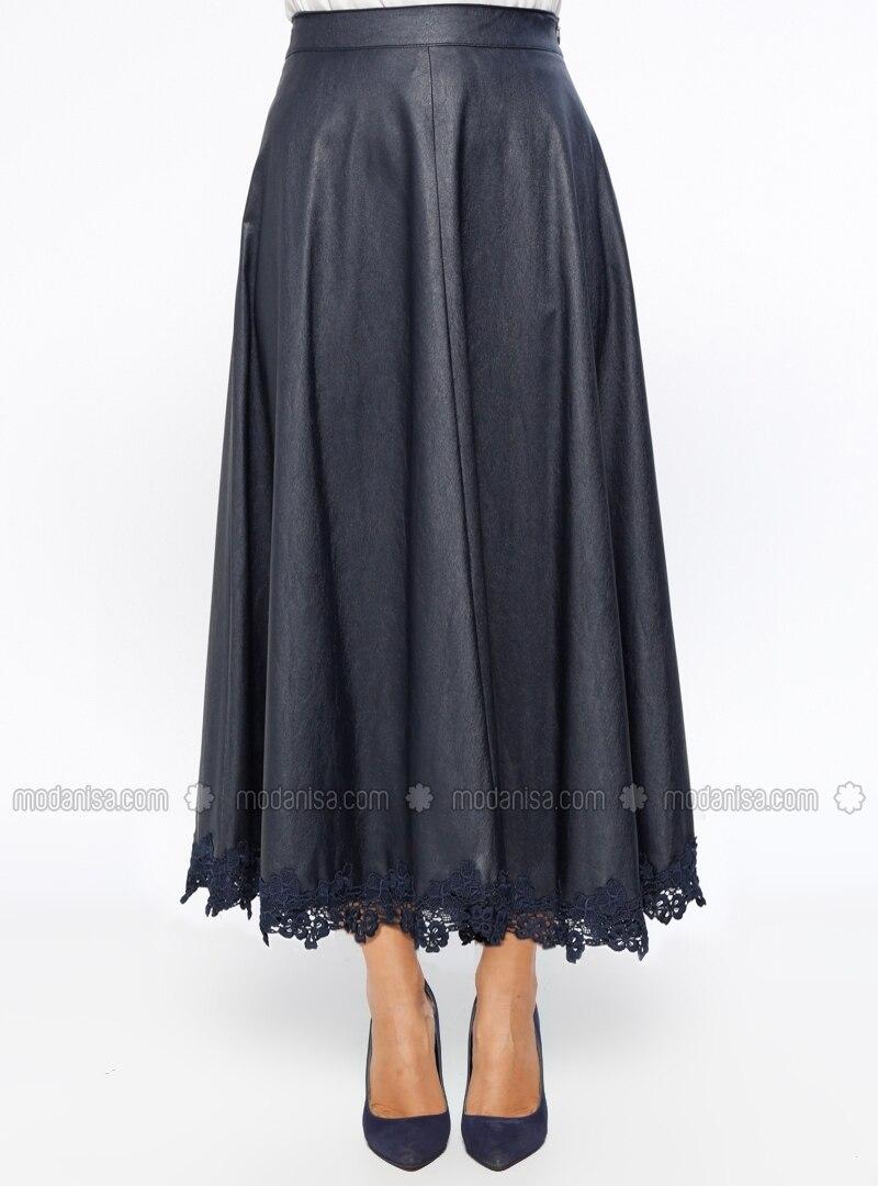 navy blue fully lined skirt tuğba