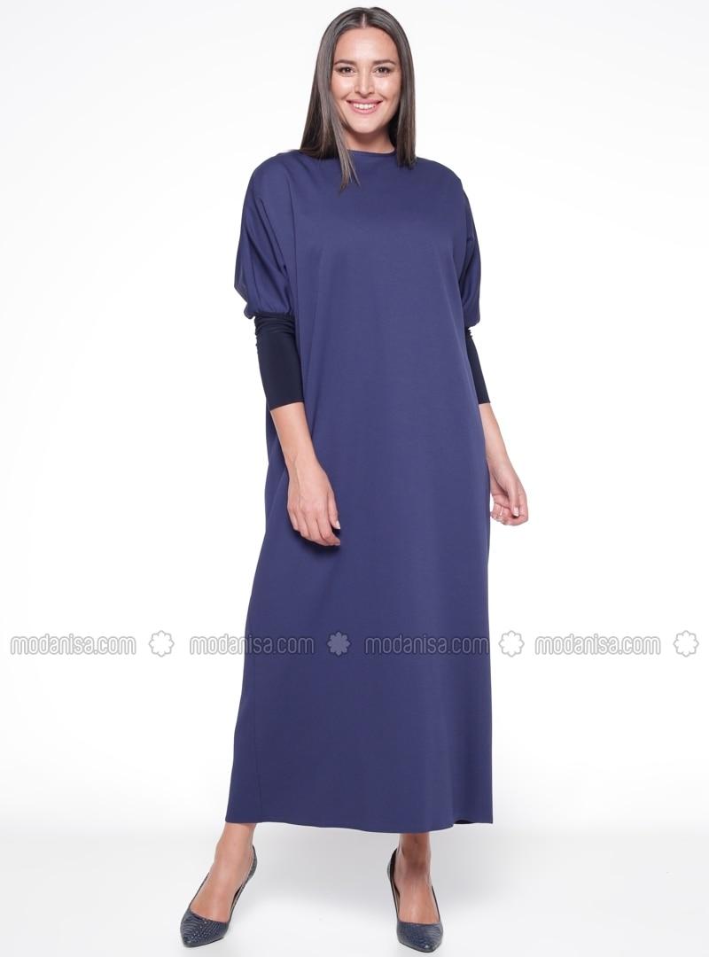 483f7f2bcc8 Navy Blue - Unlined - Crew neck - Plus Size Dress. Fotoğrafı büyütmek için  tıklayın
