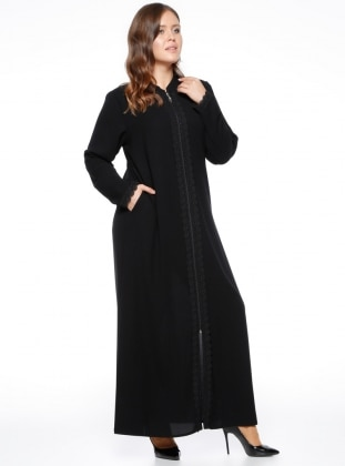 Black - Crew neck - Unlined - Plus Size Abaya - ModaNaz 318717