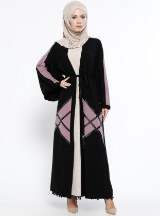 Elbise&Abaya İkili Takım - Pudra Siyah - Jamila Ürün Resmi