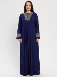 Navy Blue - Saxe - Multi - Crew neck - Unlined - Viscose - Dress - BAGİZA