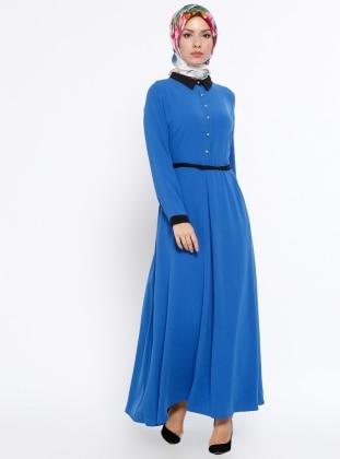 Düğme Detaylı Elbise - Saks Mileny