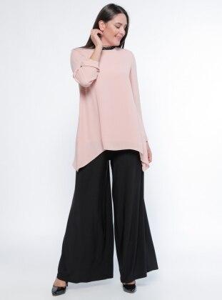 Yüksek Bel Pantolon Etek - Siyah Melisita