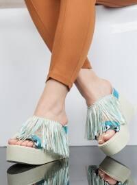 Dolgu Topuk Terlik - Mavi - Ayakkabı Havuzu