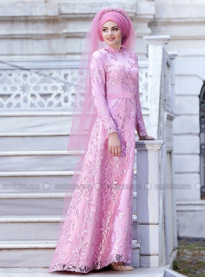 Pink - Fully Lined - Crew neck - Muslim Evening Dress - Eldia By Fatıma