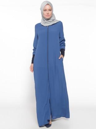 Fermuarlı Ferace - İndigo ModaNaz