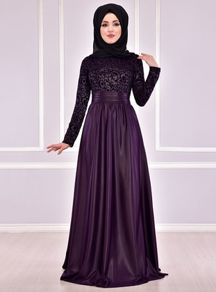 Purple - Fully Lined - Crew neck - Muslim Evening Dress - AYŞE MELEK TASARIM