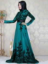 Crew neck - Fully Lined - Multi - Green - Muslim Evening Dress