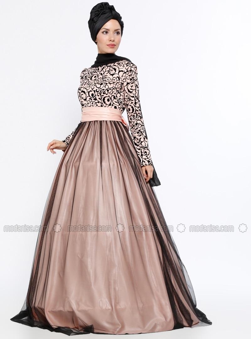 Crew neck - Floral - Powder - Muslim Evening Dress