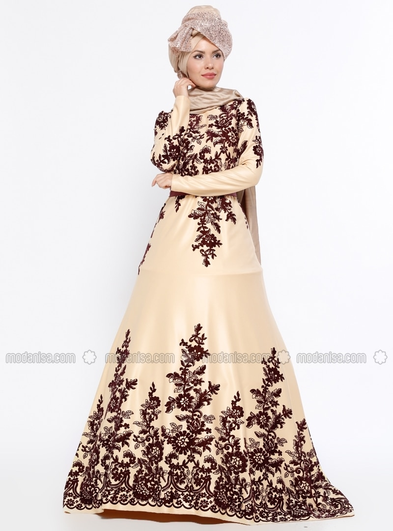 5d55c9bdaa24 Purple - Beige - Multi - Fully Lined - Crew neck - Muslim Evening Dress