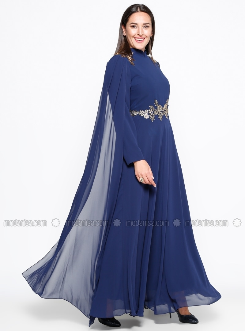 blue - fully lined - crew neck - plus size dress - modaysa