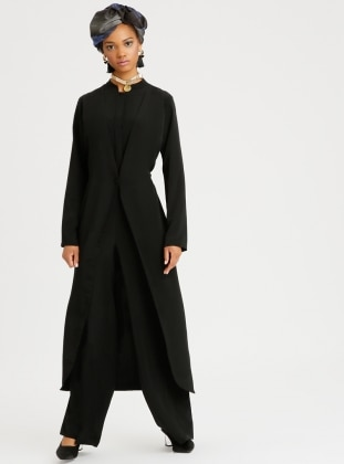 Black - Unlined - Crew neck - Jumpsuit