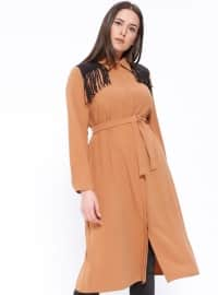 Brown - Point Collar - Plus Size Tunic
