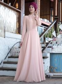 Petek İşlemeli Elbise - Pudra - Nurkombin