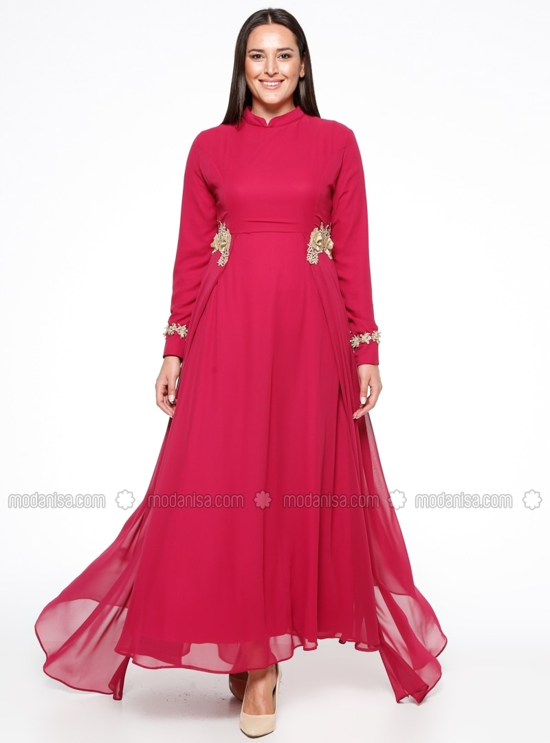 Pink Fully Lined Crew Neck Muslim Plus Size Evening Dress