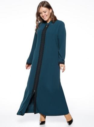 Fermuarlı Ferace - Yeşil ModaNaz