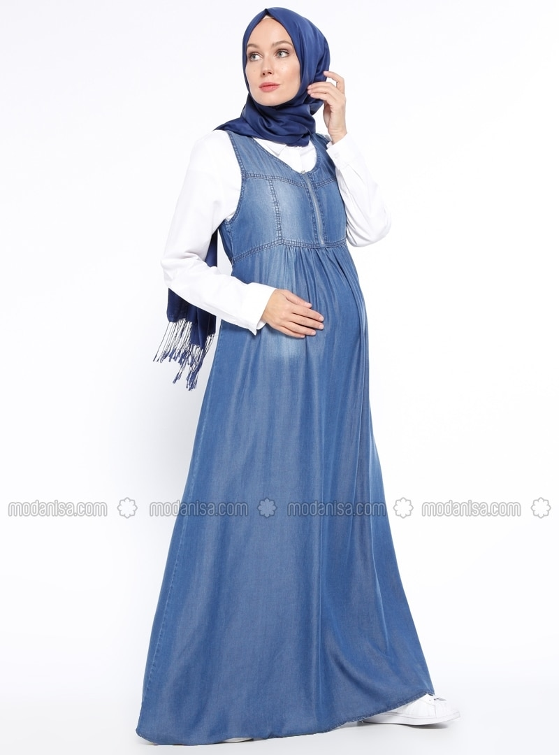 Z hamile kot elbise mavi gor sin 321340 321340 1g blue crew neck unlined denim maternity dress gr sin ombrellifo Choice Image