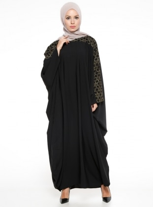 893598b9cc5f Black - Ecru - Unlined - Crew neck - Abaya