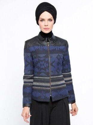 Desenli Ceket - İndigo Nihan