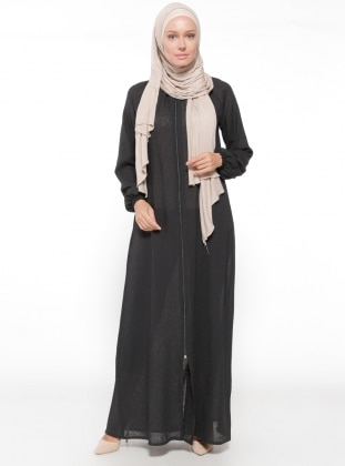 Black - Unlined - Crew neck - Abaya - ModaNaz 321768