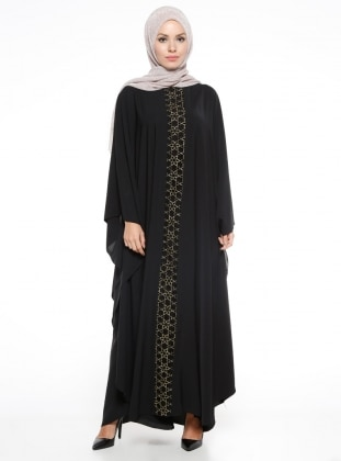 Black - Golden tone - Unlined - Crew neck - Abaya