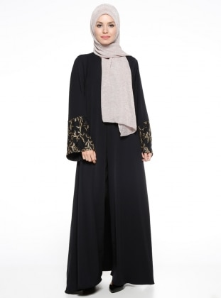 Black - Gold - Golden tone - Unlined - Crew neck - Abaya