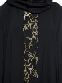 Noir - Doré - Tissu non doublé - Col rond - Abaya