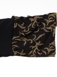 Black - Gold - Golden tone - Unlined - Crew neck - Abaya