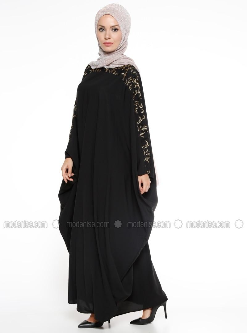 Black - Golden tone - Unlined - Crew neck - Abaya