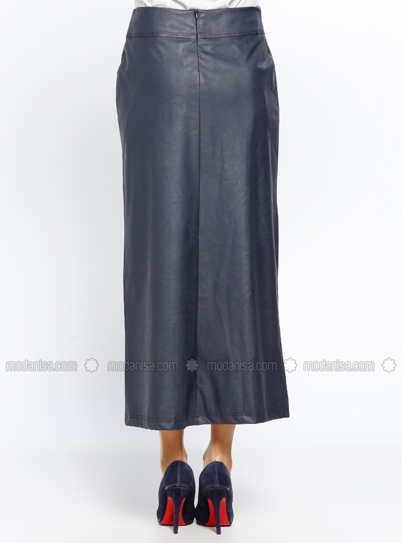 navy blue fully lined skirt nihan