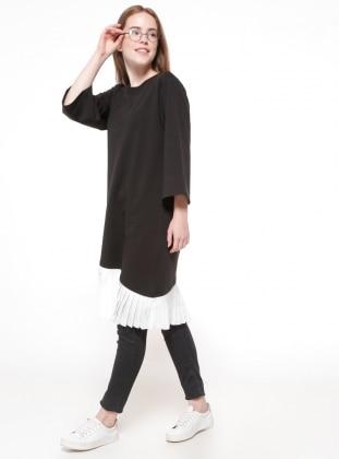 Pilise Detaylı Tunik - Siyah Koton