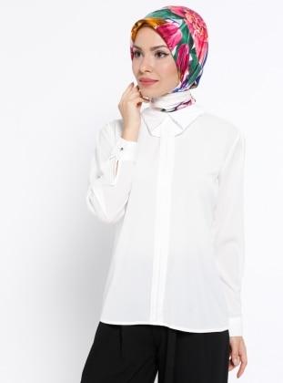 Yaka Detaylı Bluz - Beyaz Mileny