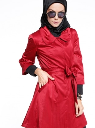 Maroon - Fully Lined - Round Collar - Trench Coat