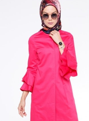 Pink - Fully Lined - Crew neck - Trench Coat