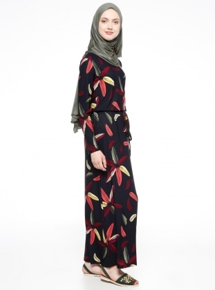 Desenli Elbise - Lacivert Dadali