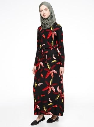 Desenli Elbise - Siyah Dadali